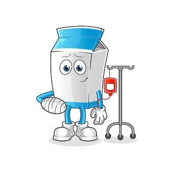 Mascotte de dessin animé malade de paquet de lait