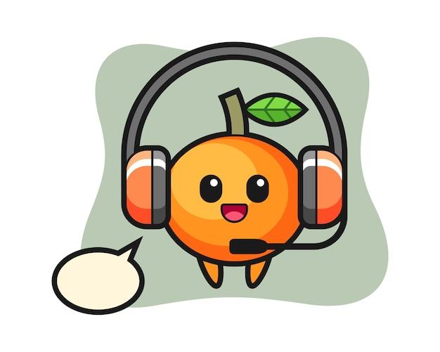 Mascotte de dessin animé de mandarine en tant que service client, style mignon, autocollant, élément de logo