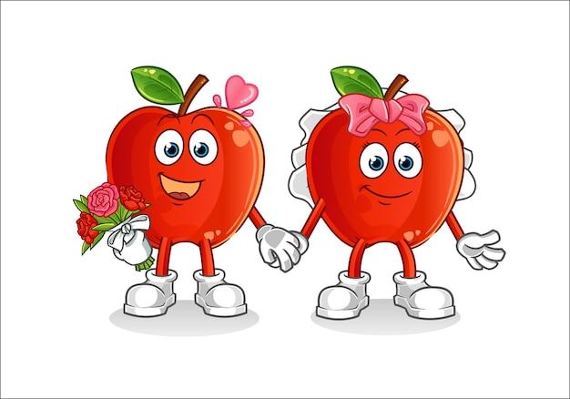 Mascotte de dessin animé de mariage pomme rouge