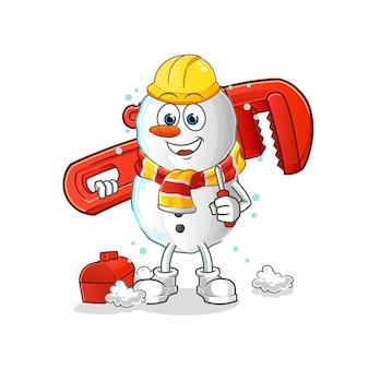 Mascotte de dessin animé mars plombier