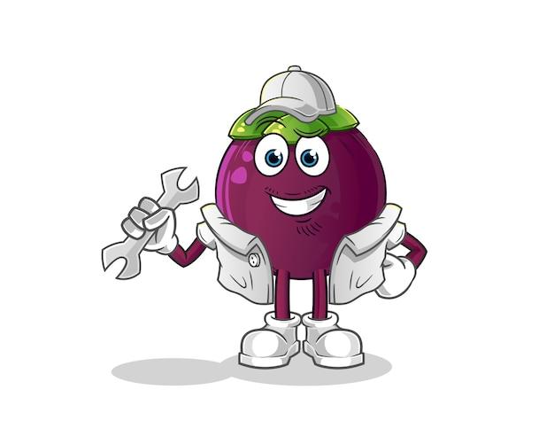 Mascotte de dessin animé mécanicien mangoustan
