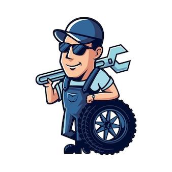 Mascotte de dessin animé de mécanicien
