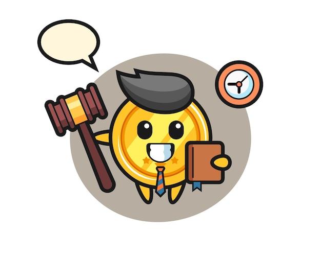 Mascotte de dessin animé de médaille en tant que juge