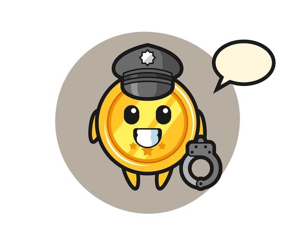 Mascotte de dessin animé de médaille en tant que police