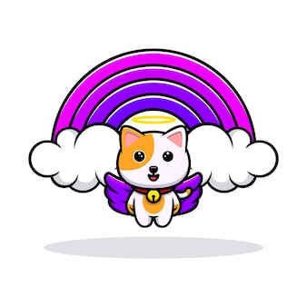 Mascotte de dessin animé mignon ange de chat et arc-en-ciel