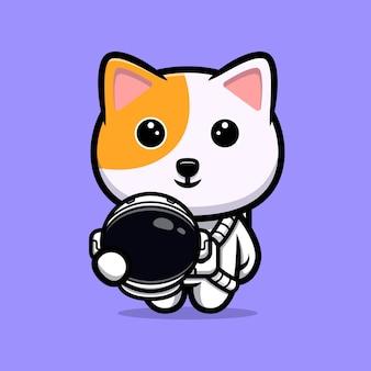 Mascotte de dessin animé mignon chat astronaute