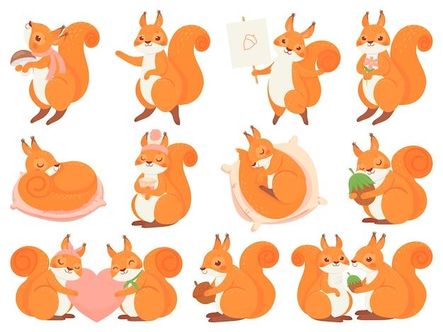 Mascotte de dessin animé mignon écureuil