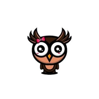 Mascotte de dessin animé mignon hibou character design vector illustration