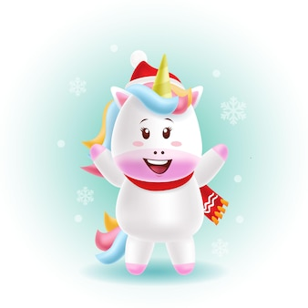Mascotte dessin animé mignon licorne joyeux noël