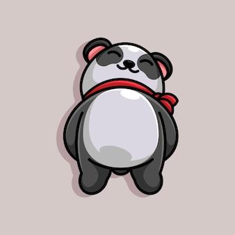 Mascotte de dessin animé mignon panda endormi