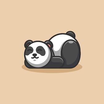 Mascotte de dessin animé mignon panda paresseux