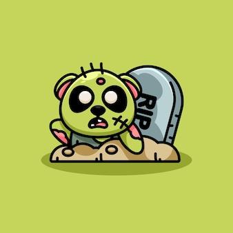 Mascotte de dessin animé mignon panda zombie