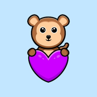 Mascotte de dessin animé mignon singe câlin coeur violet