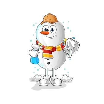 Mascotte de dessin animé nettoyant bonhomme de neige