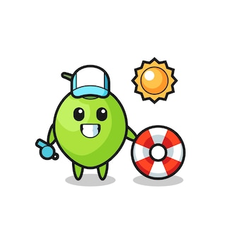Mascotte de dessin animé de noix de coco comme gardien de plage, design de style mignon pour t-shirt, autocollant, élément de logo