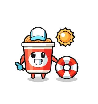 Mascotte de dessin animé de nouilles instantanées en tant que garde de plage, design de style mignon pour t-shirt, autocollant, élément de logo