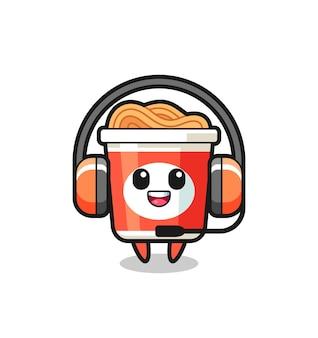 Mascotte de dessin animé de nouilles instantanées en tant que service client, design de style mignon pour t-shirt, autocollant, élément de logo