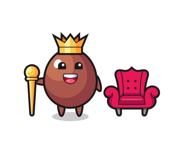 Mascotte de dessin animé d'oeuf en chocolat en tant que roi, design mignon