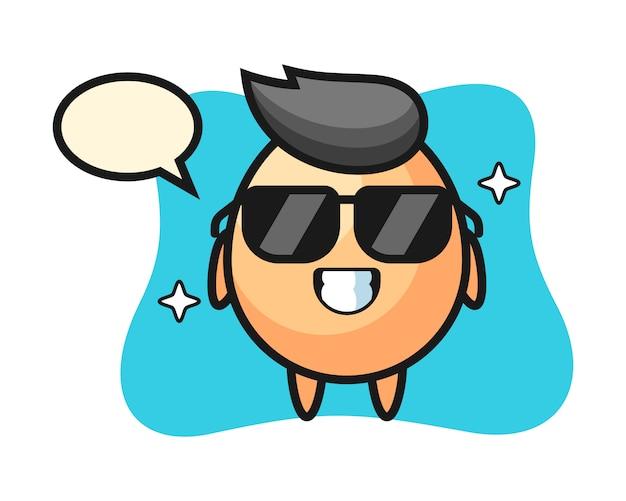 Mascotte de dessin animé d'oeuf avec un geste cool, conception de style mignon pour t-shirt, autocollant, élément de logo