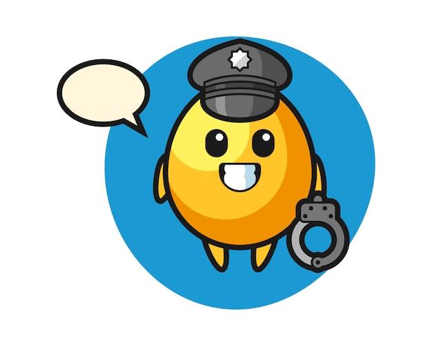 Mascotte de dessin animé d'oeuf d'or comme police, conception de style mignon