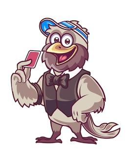 Mascotte de dessin animé d'oiseau de commerçant de carte de casino