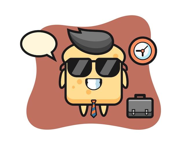 Mascotte de dessin animé de pain comme homme d'affaires