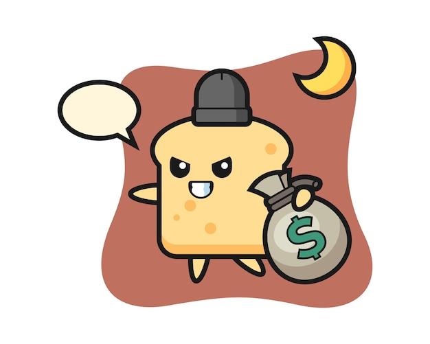 Mascotte de dessin animé de pain est volé de l'argent
