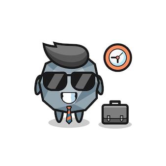 Mascotte de dessin animé de pierre en tant qu'homme d'affaires, design de style mignon pour t-shirt, autocollant, élément de logo