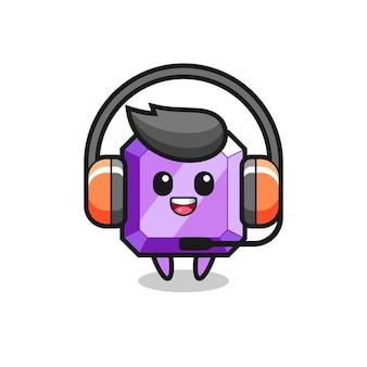 Mascotte de dessin animé de pierres précieuses violettes en tant que service client, design de style mignon pour t-shirt, autocollant, élément de logo
