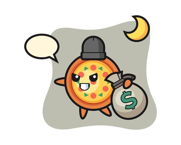 Mascotte de dessin animé de pizza est volé de l'argent