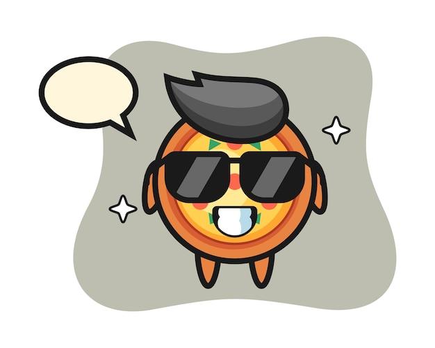 Mascotte de dessin animé de pizza avec un geste cool