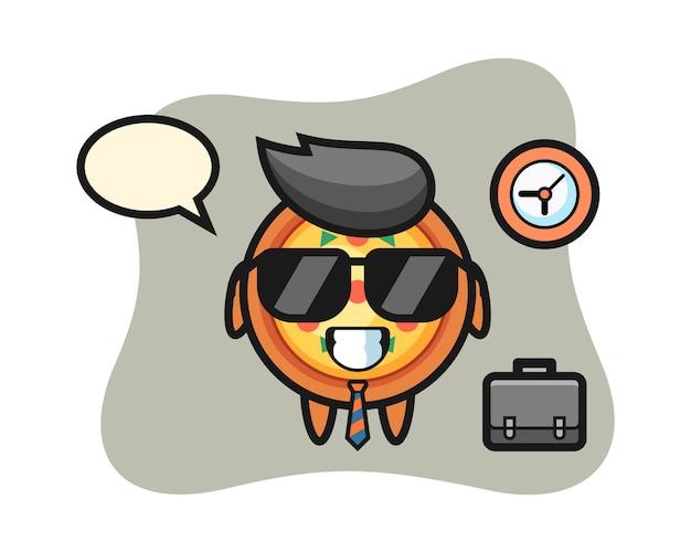 Mascotte de dessin animé de pizza en tant qu'homme d'affaires