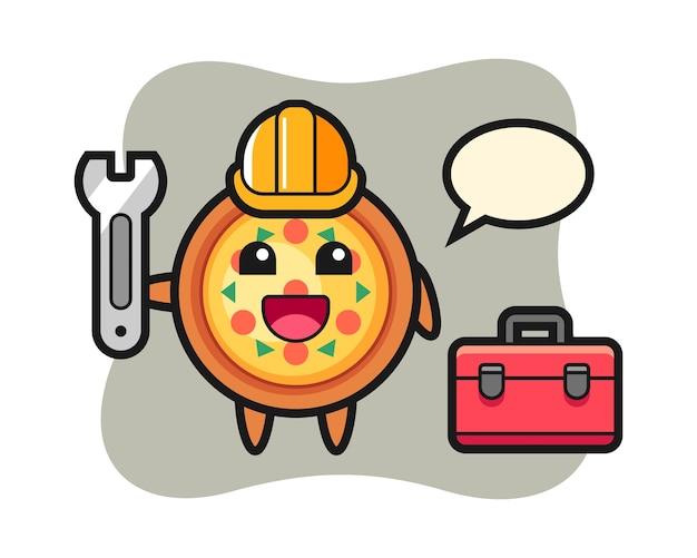Mascotte de dessin animé de pizza en tant que mécanicien