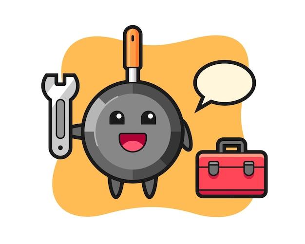 Mascotte de dessin animé de poêle à frire en tant que mécanicien