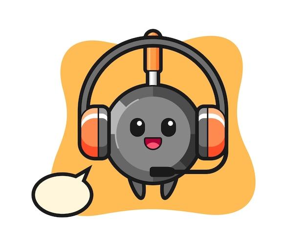 Mascotte de dessin animé de poêle à frire en tant que service client
