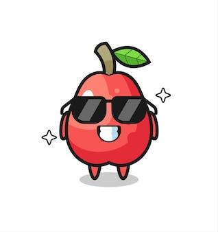 Mascotte de dessin animé de pomme d'eau avec un geste cool, design de style mignon pour t-shirt, autocollant, élément de logo