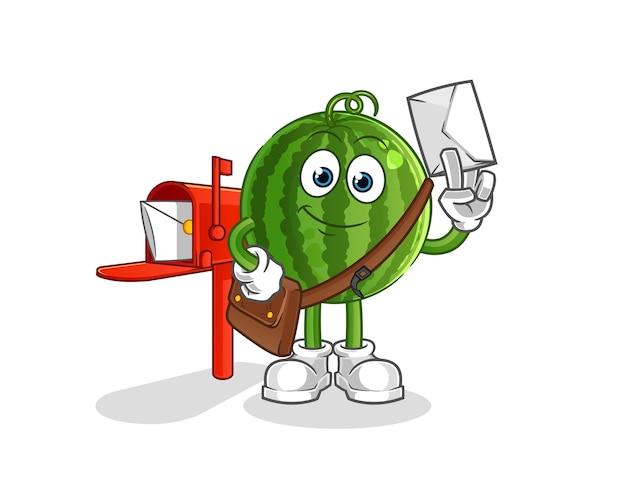 Mascotte de dessin animé de postier de pastèque