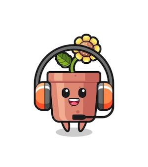 Mascotte de dessin animé de pot de tournesol en tant que service client, design de style mignon pour t-shirt, autocollant, élément de logo
