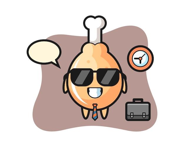 Mascotte de dessin animé de poulet frit comme homme d'affaires