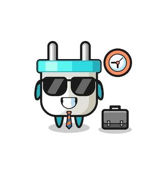 Mascotte de dessin animé de prise électrique en tant qu'homme d'affaires