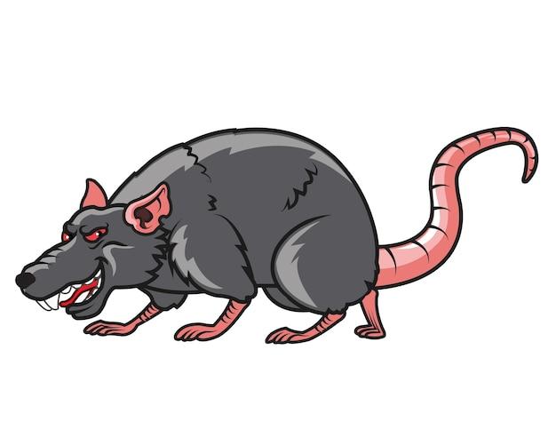 Mascotte de dessin animé de rat maléfique