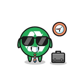 Mascotte de dessin animé de recyclage en tant qu'homme d'affaires, design mignon