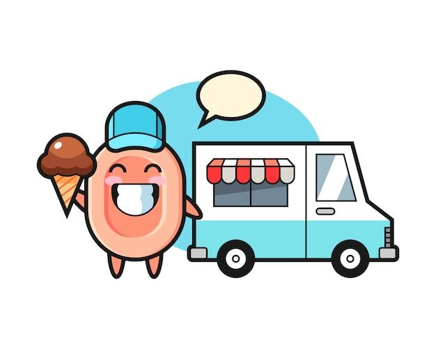 Mascotte de dessin animé de savon avec camion de crème glacée, style mignon pour t-shirt, autocollant, élément de logo