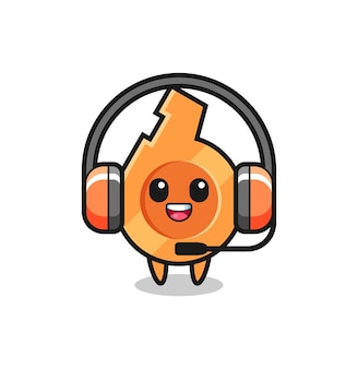 Mascotte de dessin animé de sifflet en tant que service client, design mignon