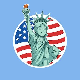 Mascotte de dessin animé statue de la liberté avec drapeau américain