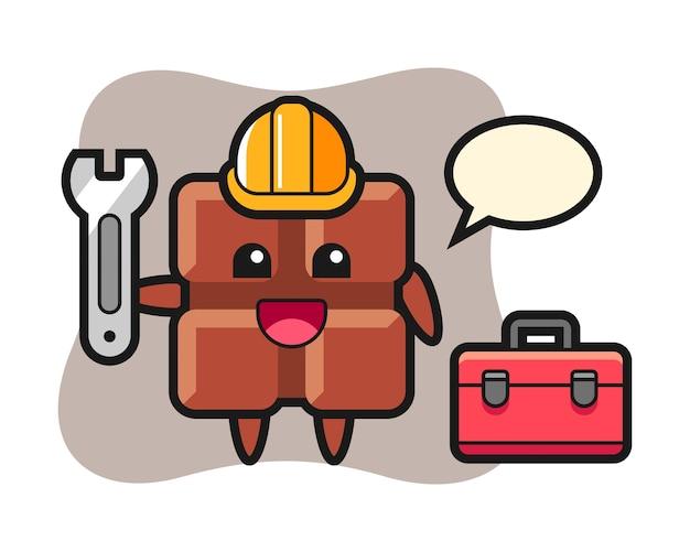 Mascotte de dessin animé de tablette de chocolat en guise de mécanicien, joli style kawaii.