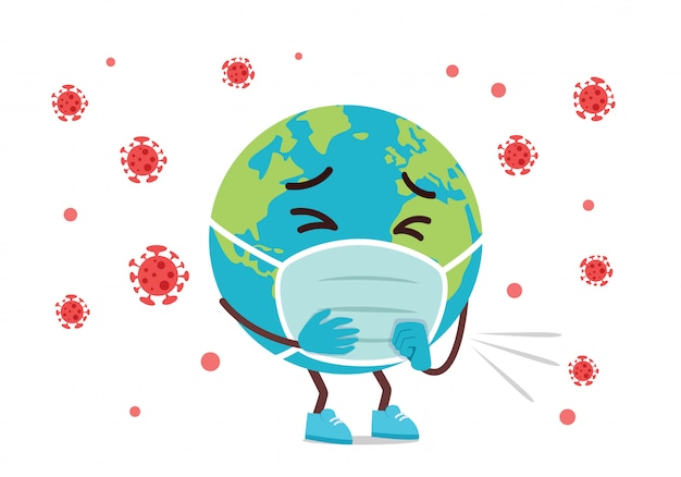 Mascotte de dessin animé de terre triste infectée par le virus corona