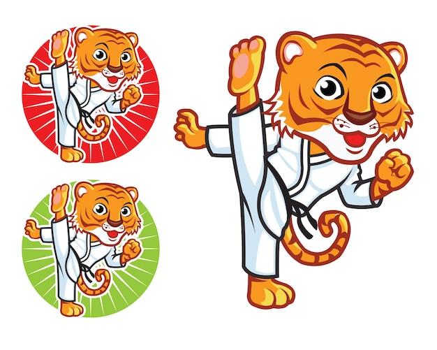 Mascotte de dessin animé tigre d'arts martiaux