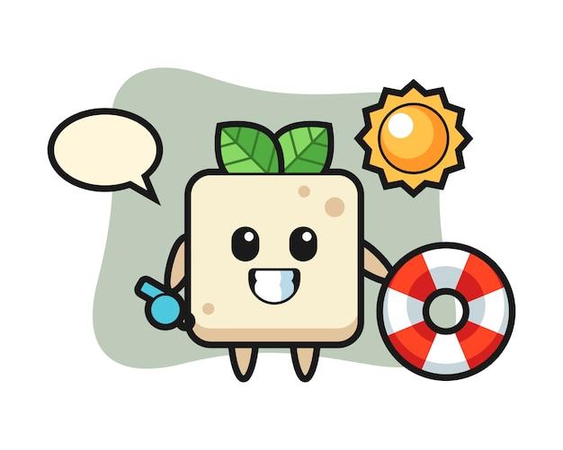 Mascotte de dessin animé de tofu comme garde de plage, conception de style mignon pour t-shirt