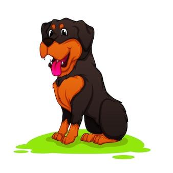 Mascotte de dessin de chien rottweiler